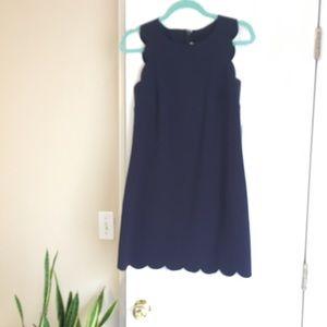 Navy blue cute J Crew scallop dress